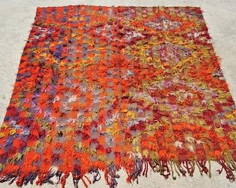 Tribal Camel Cover Blanket, Ceremonial Warm Orange wool Camel Cover, Turkish Camel Cover / 82,6''x 82,6 – 210 x 210 cm