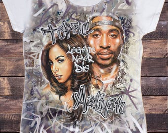 Women's White T-Shirt Tupac Shakur & Aaliyah Street Art 'Legends Never Die' Rap Hip Hop Sublimation Print SUB5932