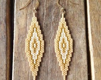 SAONA Beige Latte EARRINGS gold plated and glass Miyuki beads weaving