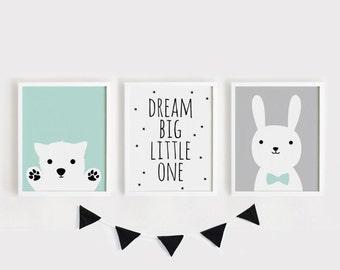 Printable Nursery Art Set of 3 Poster Baby room Wall art Kids room decor Mint Gray Black Puppy, Dream big little one, Bunny print set