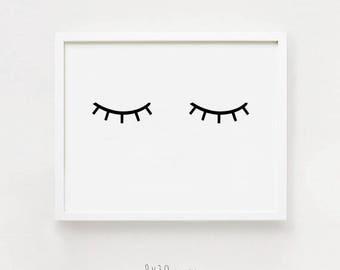 Horizontal wall art Eye print Printable Nursery art Scandinavian home decorl Black and white Sleep poster Digital print