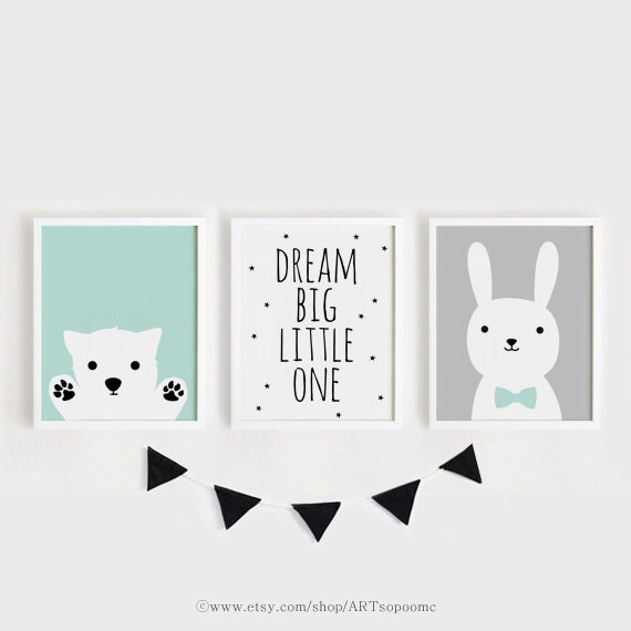 Exceptional Printable Nursery Art Set Of 3 Poster Baby Room Wall Art Kids Room Decor  Mint Gray Black Puppy, Dream Big Little One, Bunny Print Set