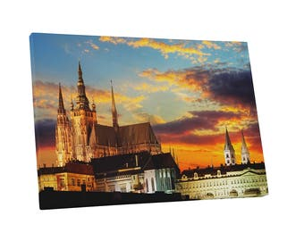 Castles and Cathedrals Prague Castle at Sunset Gallery Wrapped Canvas Print
