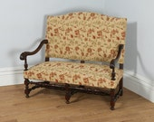 Antique French Walnut Upholstered Couch  Sofa  Settee (Circa 1870)