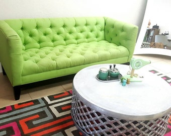 Mid Century Modern Stunning Apple Green Fully Tufted Sofa or Couch Vintage Circa 1960's Simply Fabulous!