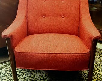 Mid Century Modern Burnt Orange Occasional Living Room Chair Vintage  1960's Sleek and Modern Lines Timeless Style and Stunning!