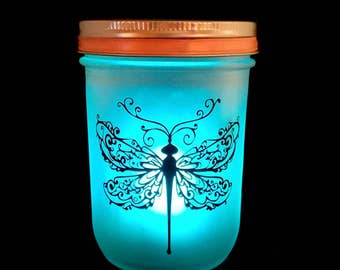 Dragonfly Lantern with color changing tealight