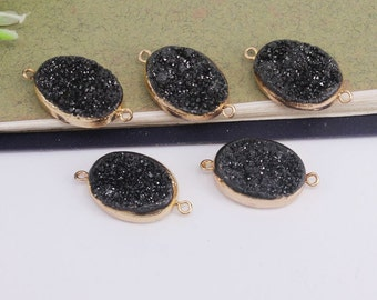 5-10pcs Natural Druzy Titanium Black Quartz Connector Beads,Gold plated Druzy Gemstone Connector for Jewelry Making