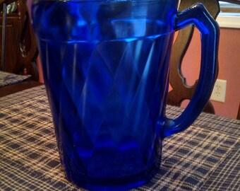 hazel atlas  diamond quilt optic cobalt blue pitcher with ice lip