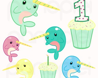Narwhal Baby Colors Birthday Clipart Clip Art Set 1st Birthday