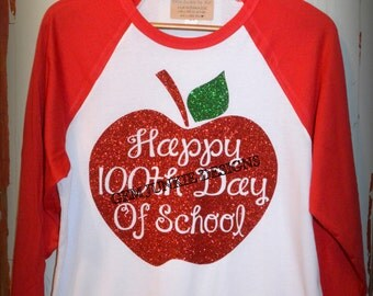 100th Day of School Apple Teacher Shirt 3/4 sleeve RAGLAN style t-shirt