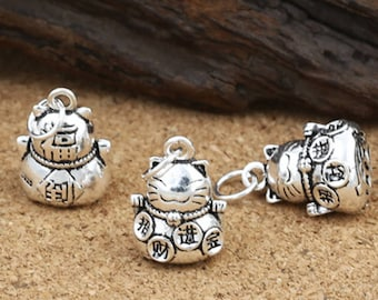 2 Sterling Silver Fortune Cat Bell Type Charm, Sterling Silver Cat Bell Charm, 925 Silver Cat Bell Charm, Lucky Cat, Bell Charm - FT462