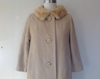 1950s Wool coat with fur collar