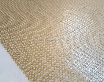 Gold sequin lace fabric #Go1
