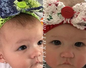 The Riley Bow Headband- Crocheted