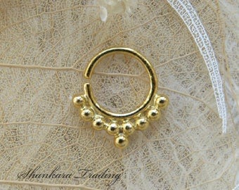 Gold Septum Ring, 14KT Solid Gold Septum Ring, Tribal Septum Ring, Indian Nose Ring, Ethnic Septum Ring, Septum Jewelry