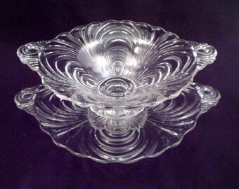 Set: Cambridge Caprice Pattern Footed Candy Dish and Footed Plate, 1930s