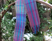Hand woven winter scarf in blues and gray and teal,  Warm scarf, Plaid scarf, Gift idea, Women's scarf, Men's scarf
