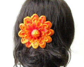 Large Orange Dahlia Flower Hair Comb Bridesmaid Big Rose Rockabilly 1950s 1733