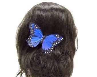 Large Blue Butterfly Hair Clip Fascinator Bridesmaid Festival Headpiece Big 2848