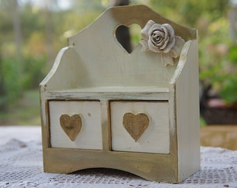 Mini jewellery box with drawers, white and gold