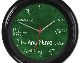 Maths Clock Teacher Student Pupil Equation Chalkboard Blackboard Greenboard Classroom #2 - Can be personalised (0216)