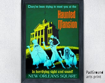 Disneyland Vintage, Disney Poster, Haunted Mansion, New Orleans Square, Fantasyland, Halloween, Home Decor, Wall Decor, Gift, Frame -22pg