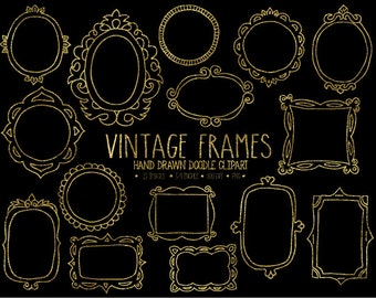 Gold Frame Clipart. Doodle Frames, Tags & Labels Clip Art. Digital Borders. Photo Overlays. Vintage, Retro Hand Drawn Frames Clip Art