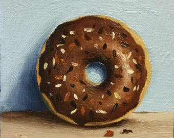 Little Chocolate Donut, Original Oil Painting still life by Jane Palmer