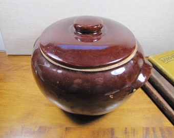 Brown Glazed Pottery Bean Crock With Lid