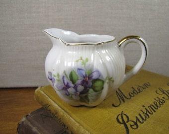 Small Porcelain Creamer - Purple Flowers