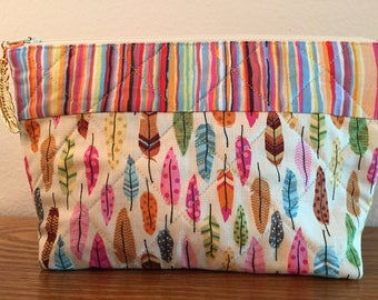 Feather cosmetic bag, Fabric cosmetic bag, themed cosmetic bag