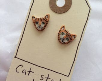 Cat Stud Earrings (Ginger)