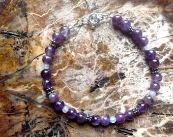 Amethyst and Bali Silver Bracelet