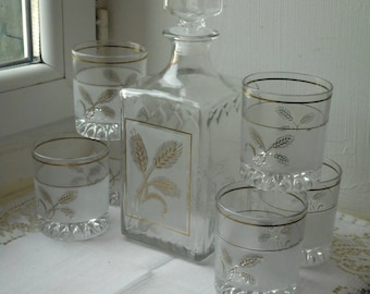 stunning vintage Italian glass 8 piece decanter set complete with glasses