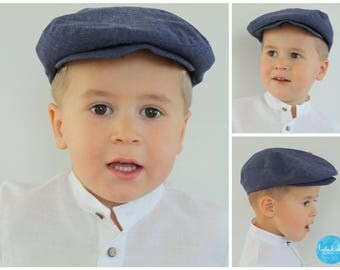 Flat Cap boys has boy ring carrier outfit ring bearer newsboy Hat Ringboy has blue chambray linen