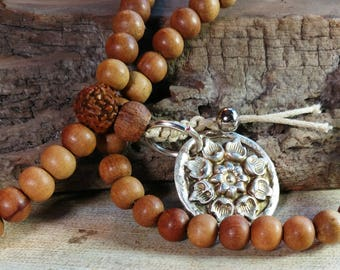"""Mala Necklace with Genuine Silver Lotus Medallion, 31"""""""