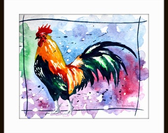 ORIGINAL Watercolor Painting Rooster Art Chicken