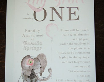 Custom Baby Shower Invitations- Baby Elephant Birthday- Handmade