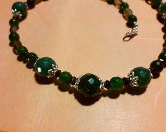 Faceted Smoky Quartz and Malaysian Jade Necklace
