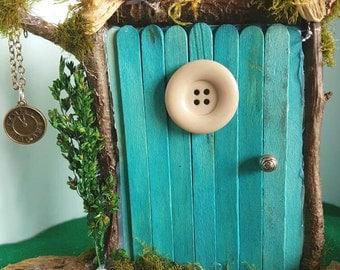 Rustic blue, handmade Fairy Pixie door