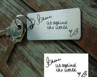 Sorry, not available for Christmas delivery.Handwritten Key chain  - Mom's Handwriting -  Engraved - Brushed Stainless Steel Gift