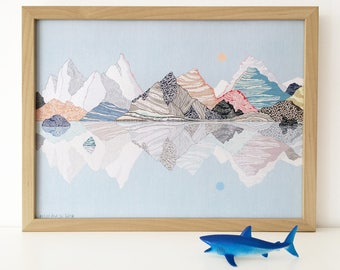 mountains illustration, limited edition print (blue sky)