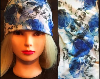 Blue Skull Stretch Headband