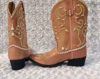 BLING  Cowboy Boots, Pearl and Rhinestone Embellished Cowboy Boots, Custom Boots, Kids Blinged Boots, Cowgirl Boots, Custom Cowboy Boots