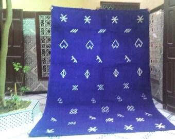 Blue Beni Ourain Rug, Beni Ourain Rug, Wool Rug 9 Ft 8 x 6 Ft 5  Large Hand Loomed Moroccan Rug Berber Rug Tribal Rug Souk Rug Beni Ourain