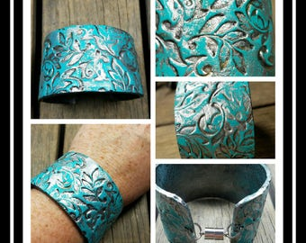 Polymer Clay Silver and Patina Vine Cuff