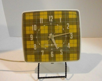 Working Wall Clock, General Electric, Electrical Clock, Plaid Pattern, Vintage