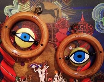 All seeings eye wood hoop earrings