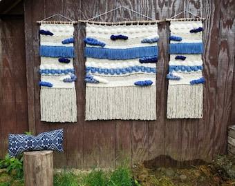 """Large Woven Wall Hanging, Macrame wall hanging, Tapesrty, Fiber art, Weaving """"Indigo Girls"""""""